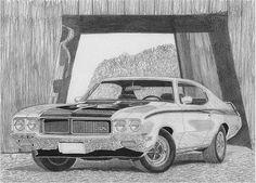 1970 Buick Skylark Gsx Muscle Car Art Print Drawing by Stephen Rooks