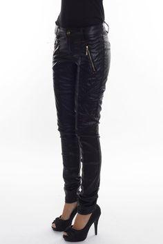 JANICE JEANS Coated black jeans, slim fit.