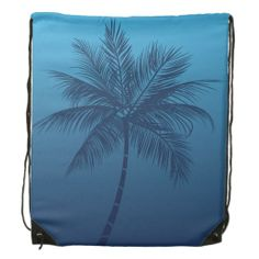 Summer Beach Palm Tree Blue Cinch Bag Drawstring Backpack.  Perfect for hauling your sunscreen, wallet, and gear to the swimming pool, or sending your kid to summer day camp.