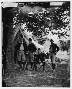 Colonel William W. Averell , Pennsylvania Cavalry, and staff. Westover Landing, VA August 1862 Left to right; Mexican American War, American Civil War, American History, Union Army, War Photography, Civil War Photos, Gloss Matte, Civilization, Military