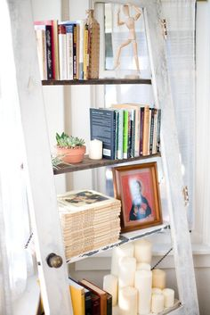 Decor Quick Tip #25: Use Old Doors As Shelves / Bookcases   via The Design Tabloid