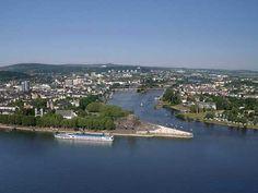 Ons keerpunt op de M.S. Virginia, Koblenz. Hier komen de Rijn en de Moesel bij elkaar.