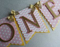 High Chair Banner Pink and Gold Birthday Shabby by kathyjacobson