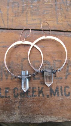Hoop Earrings with Quartz Crystal Points Ombre Earrings Large Hoop Earrings Hammered Metalwork Jewelry Oxidized Copper by DanielleRoseBean. $48.00, via Etsy.