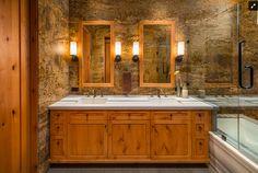 bathroom stone walls
