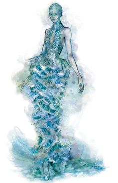 Fashion illustration of Alexander McQueen's fish scale mermaid dress; fashion drawing // Sarah Dahl