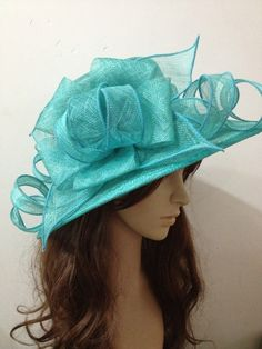 2013 Newest Derby Church Turquoise Sinamay Hat by 00mygod on Etsy, $55.00