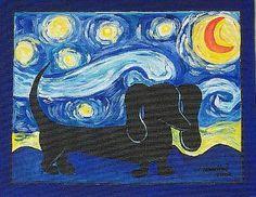 Starry Night: Starry Doxie by Melanie Douthit Arte Dachshund, Dachshund Love, Daschund, Dog Love, Puppy Love, Weenie Dogs, Doggies, Dog Art, Cute Animals