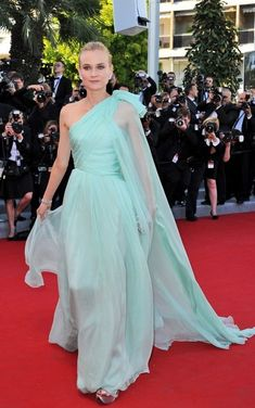 Diane Kruger romanced us at the Cannes Film Festival in this mint chiffon gown.  Brand: Giambattista Valli