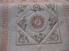 Jenny Haskins Heritage Quilt | Pat's Peach Embroidered Quilt