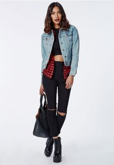#Denim jackets don't get more snug than this #Missguided shearling lined vintage inspired version. With a button down front and a #shearling collar this style is a cool classic worn by the very best of #60s rock n roll.