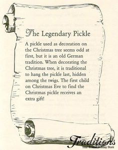 The Christmas Pickle story! I had never heard of this until last week! In recognition of my German heritage I'll be starting this tradition this Christmas! Never knew this tradition even tho we are German. Christmas Pickle Tradition, German Christmas Traditions, Holiday Traditions, Little Christmas, Winter Christmas, Vintage Christmas, Christmas Gifts, Christmas Ideas, Christmas Spider