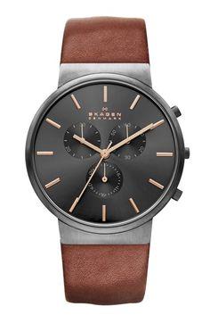 Skagen Chronograph Leather Strap Watch, 40mm