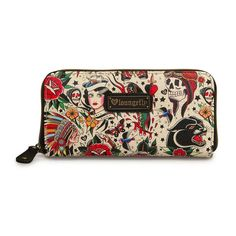 Loungefly Wallet Classic Tattoo Art Zip Around Black Womens Clutch Skull Roses #Loungefly #Clutch