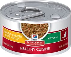 What you feed your pet matters, especially during her first year. That's why Hill's has great-tasting, nutritious food to help your kitten thrive as she begins to grow. Hill's Science Diet Kitten Healthy Cuisine Roasted Chicken & Rice Medley Canned Cat Food combines the delicious flavors of roasted chicken and rice in a mouthwatering sauce. Free of artificial flavors and preservatives, this wholesome recipe provides your young kitten with the perfect balance of taste and nutrition.