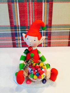 Polymer clay Mr. Elf, sculpted Elf,handmade with polymer clay, Whimsical African American Santa. by NaomisSweetStuff on Etsy