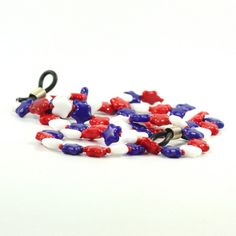Red White Blue Eyeglass Holder 4th of July Stars Patriotic Americana Beaded