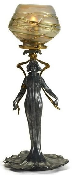"""Art Nouveau lamp with maiden and Bohemian glass shade, 20th c; Pewter, brass and glass; Unmarked; 15 3/4"""" x 6 1/2"""" dia."""