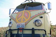 vw bus with peace sign