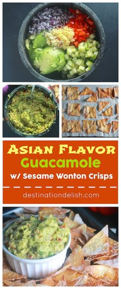 Asian Flavor Guacamole with Sesame Wonton Crisps