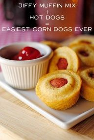 What a great and simple idea.  Anything plopped down in the muffin batter before baking!  Could be the hot dogs pictured, or a cube of cheese.  Or some rough chopped veggies in the center.