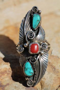 Vintage Signed Navajo Sterling Silver Turquoise Red Coral Ring Robert Kelly | eBay