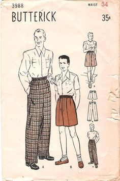 Vintage 1940's Men's Pleated Pants (long and short)