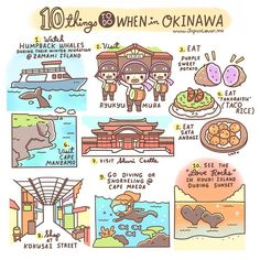 "[10 Things To Do In Okinawa (2016)] 1. Watch humpback whales during their winter migration in Zamami Island. (The whales prefer the warmer waters of Okinawa!) 2. Visit Ryukyu Mura (a traditional and cultural theme park) 3. Eat purple sweet potato 4. Eat ""takoraisu"" or taco rice~ An okinawan specialty! 5. Eat sata andagi (okinawan doughnut balls) 6. Visit Cape Manzamo (popular scenic rock formation overlooking the ocean) 7. Visit Shuri Castle 8. Shop at Kokusai Street (popular dining and…"