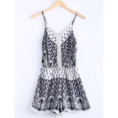 Ethnic Style Spaghetti Strap V-Neck Lace Romper For Women #shoes, #jewelry, #women, #men, #hats, #watches, #belts