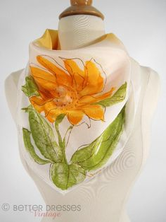 For sale! Under $50 and super pretty! (Jen) Vintage 70s Vera Signed Sunflower Scarf by Better Dresses Vintage