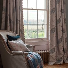 Guinea fowl linen interlined curtains in perfect condition with a double pinch pleat heading Printed Curtains, Printed Linen, Curtains With Blinds, Bedroom Curtains, Cottage Dining Rooms, Living Rooms, Susie Watson, English Country Style, Guinea Fowl