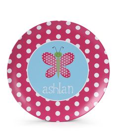 Another great find on #zulily! Pink Butterfly Personalized Plate by Lima Bean Kids #zulilyfinds
