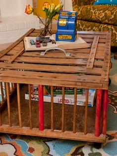 Farmers used to use these old wood crates to carry chicks and hens to market. This one found new life as a coffee table with plenty of storage for board games and books.