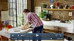 Jamie Oliver's New Kitchen. French doors off the kitchen.