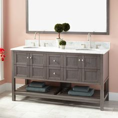 "60""+Everett+Double+Vanity+for+Undermount+Sink+-+Ash+Gray"