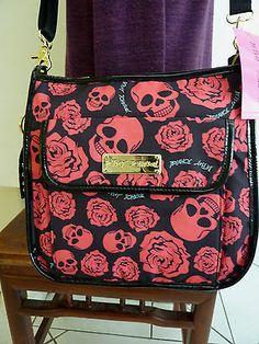 Betsey Johnson purse new Auth BLACK PINK SKULL & ROSES cross body bag nwt adj