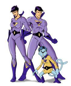 Wonder Twins & Gleek by Mike Mahle Legion Of Superheroes, Superhero Villains, Batman Comic Books, Marvel Dc Comics, Comic Art, Comic Book Characters, Comic Character, Wonder Twins, Old School Cartoons
