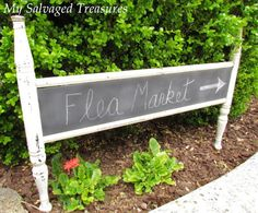 Paint an old salvaged footboard from a bed with chalk board paint to create a unique sign for antiques or retail store.  Upcycle, recycle, repurpose, salvage!  For ideas and goods shop at Estate ReSale & ReDesign, in Bonita Springs, FL