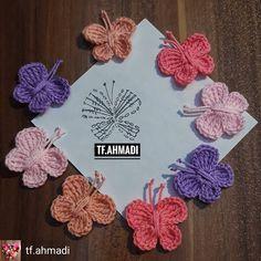 Crochet Butterfly Free Pattern, Crochet Necklace Pattern, Crochet Flower Tutorial, Crochet Flower Patterns, Flower Applique, Crochet Flowers, Modern Crochet Patterns, Crochet Designs, Borboleta Crochet