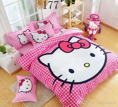 Cartoon Children Cute Lovely Pink Hello Kitty Bedding Set Bed Sheet Set Hello Kitty Duvet Cover Bed Sheet Pillowcase, Twin/Queen Blue Duvet Twin Size Bedding Sets From Xzqgoodluck, $45.23| Dhgate.Com