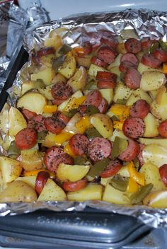 Smoked sausage and potato bake is very delicious and perfect for dinner. I usually change the ingredients as I wish! Check it out. You'll Need: 1 package of sliced Eckrich skinless smoked sausage. Sausage And Potato Bake, Smoke Sausage And Potatoes, Sausage Potatoes And Peppers, Sausage Casserole, Baked Sausage, Burrito Casserole, Recipe For Smoked Sausage And Potatoes, Diced Potatoes In Oven, Meat And Potatoes Recipes