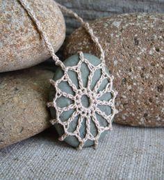 Crochet Stone . Lace Stone . River Rock by TheTreeFolkHollow, $15.00