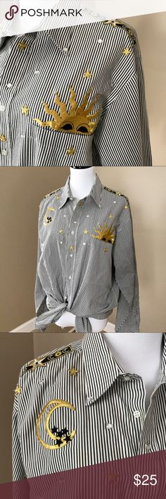 """Vintage 90's Moon and Stars Striped Button Shirt This shirt is fab! I love it tied, but it is plenty long enough to be tucked or left loose. Size Large. No shoulder pads. Gold embroidery. 50% Poly 50% Cotton. 47"""" Bust and waist. 27"""" long. Good condition. Vintage Tops Button Down Shirts"""
