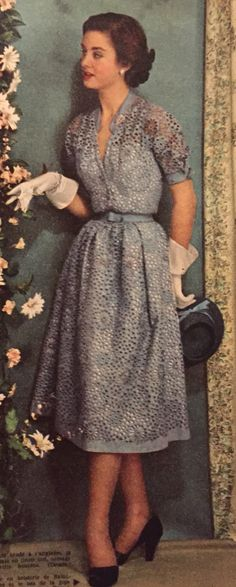 Christian Dior- 1951 Blue eyelet embroidered canvas dress. Elle No. 277- March 19, 1951