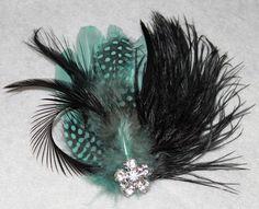 Sky Blue Aqua Goose Feather Black Ostrich Feather Boutique Bridal Hair Clip Fascinator Photp Prop. $28.99, via Etsy.