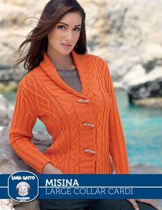 Misina – Large Collar Cardi   Knitting Fever Yarns & Euro Yarns