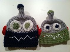 Child's crochet robot hat by CutesybyCarolyn on Etsy, $12.00