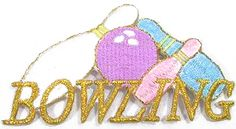 "Amazon.com: [Single Count] Custom and Unique (3.7"" x 2"" Inch) ""Sports"" Classic Pastel Athletic Club Bowling Balls & Pinks Metallic Text Iron On Embroidered Applique Patch {White, Blue, Pink & Gold Colors}"