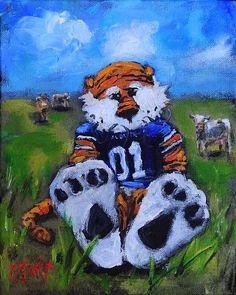 Aubie With The Cows Print by Carole Foret. All prints are professionally printed, packaged, and shipped within 3 - 4 business days. Choose from multiple sizes and hundreds of frame and mat options. Auburn Football, Auburn Tigers, College Football, Clemson Tigers, Cow Painting, Thing 1, Cow Art, Auburn University, Chalkboard Art