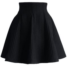 Chicwish Black Skater Skirt in Waffle Pattern ($42) ❤ liked on Polyvore featuring skirts, black, bottoms, saia, patterned skater skirt, print mini skirt, black skater skirt, black knee length skirt e black flare skirt